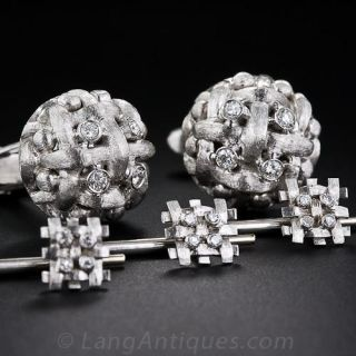 Italian Diamond Cufflinks and Stud Set