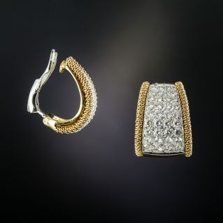 Italian Diamond Hoop Earrings - 1