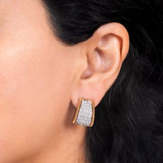 Italian Diamond Hoop Clip Earrings
