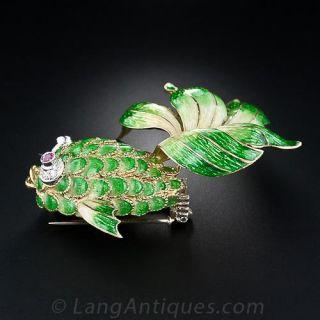 Italian Green Enamel Fish Brooch