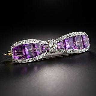 J.E. Caldwell Art Deco Amethyst Diamond Bow Pin  - 1