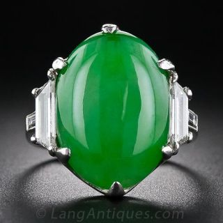 Jade Platinum and Diamond Ring - 1