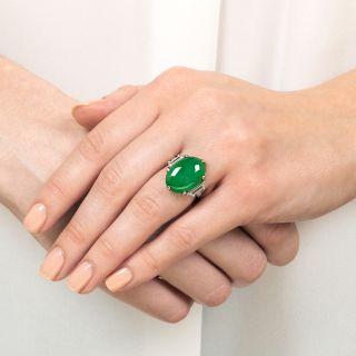 Jade Platinum and Diamond Ring