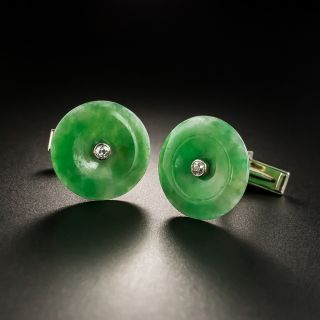 Jadeite Pi Disc and Diamond Cufflinks - 2