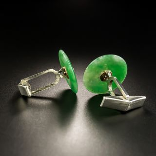 Jadeite Pi Disc and Diamond Cufflinks