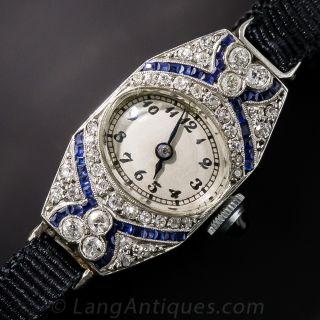 Ladies Art Deco Diamond and Synthetic Sapphire Ribbon Watch