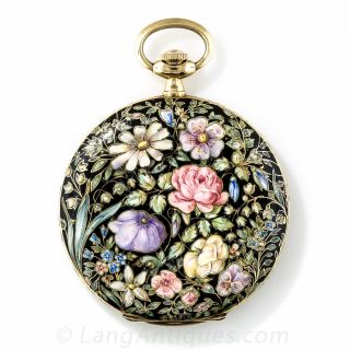 Lady's Floral Enamel Hunter Case Pocket Watch