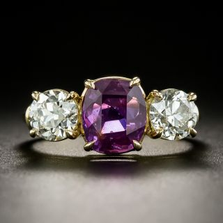 Lang Collection 2.61 Carat No-Heat Pink Sapphire and Diamond Ring - GIA - 3
