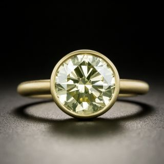 Lang Collection 3.00 Carat Natural Fancy Light Yellow Diamond Ring - GIA VVS2 - 3