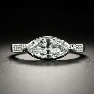 Lang Collection .99 Carat Marquise-Cut Diamond Engagement Ring - GIA D SI1 - 1