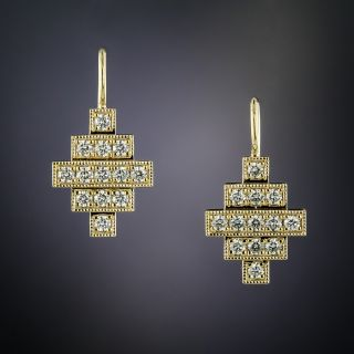 Lang Collection Deco Style Diamond Earrings - 1