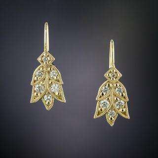 Lang Collection Diamond Laurel Leaf Motif Earrings - 2