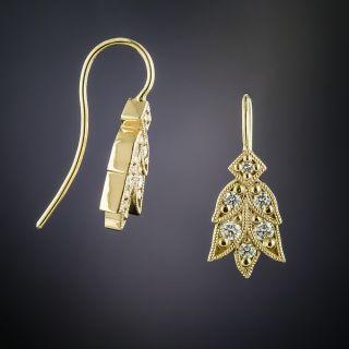 Lang Collection Diamond Laurel Leaf Motif Earrings