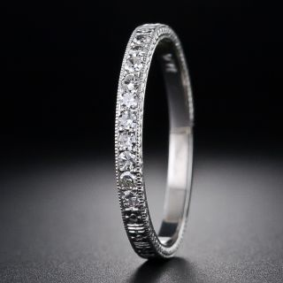 Lang Collection Diamond Wedding Band With Orange Blossom Motif