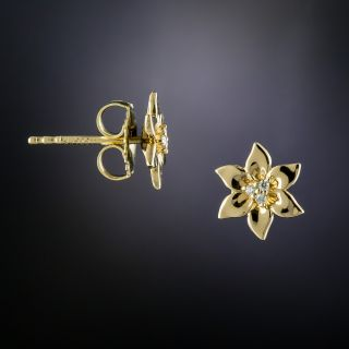 Lang Collection Petite Diamond Flower Earrings - 1