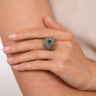 Georgian Style Emerald and Diamond Cluster Ring
