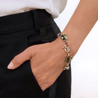 Retro Tourmaline and Moonstone Two-Tone Bracelet