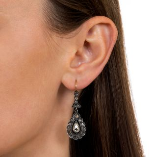 Victorian Rose-Cut Diamond Dangle Earrings