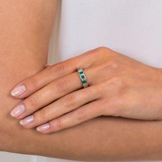 Estate Emerald Diamond Band