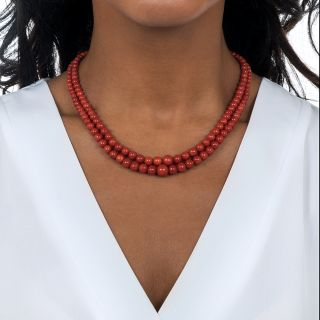 Mid-Century Double Strand Coral Bead Necklace