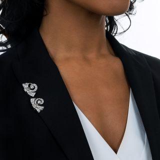 Late Art Deco Diamond Scroll Dress Clips/Earrings