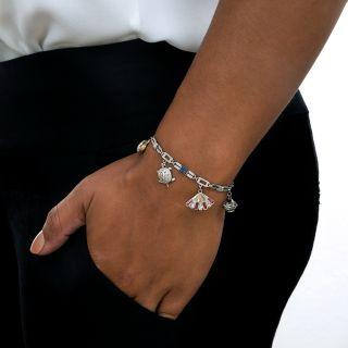 Art Deco Sapphire and Diamond Charm Bracelet
