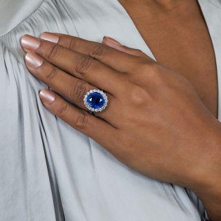 Estate 11.39 Carat Natural No-Heat Ceylon Sapphire and Diamond Ring