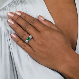 Gem 1.30 Carat Colombian Emerald and Diamond Ring