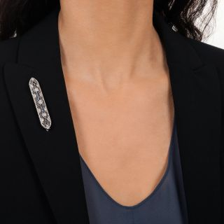 Art Deco Diamond and Calibre Sapphire Filigree Bar Pin