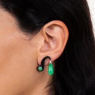 Marsh & Co. Jadeite and Blackened Steel Ear Clips