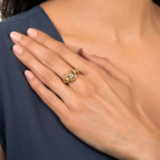 Vintage .70 Carat Old Mine-Cut Diamond Double Snake Ring