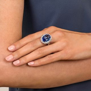 No-Heat Ceylon Color-Change 11.80 Carat Sapphire and Diamond Ring - GIA