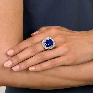 Estate 12.18 Carat Ceylon Sapphire Diamond Ring - GIA