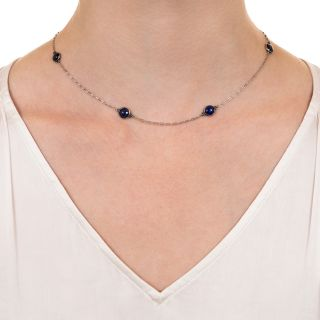 French Cabochon Sapphire Chain Necklace