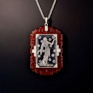 Art Deco Rock Crystal Quartz, Carnelian and Diamond Lavalier - 0