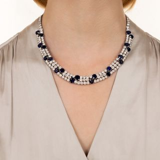 Platinum Natural No-Heat Sapphire and Diamond Necklace