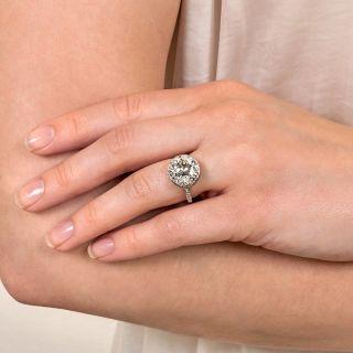 Art Deco 7.57 Carat European-Cut Diamond Engagement Ring - GIA J I1