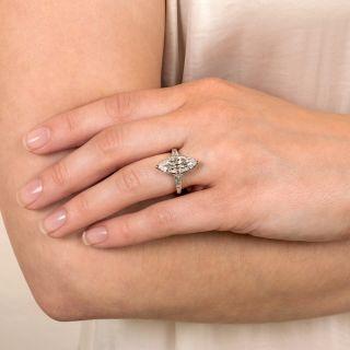 Art Deco 3.19 Carat Marquise Platinum Diamond Ring - GIA D VS1