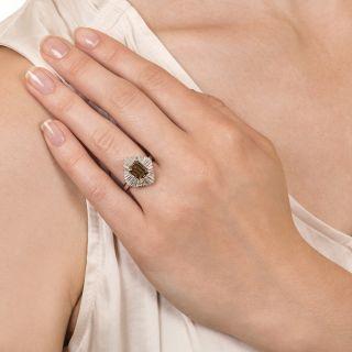 Estate 2.18 Carat Natural Brown Emerald-Cut Diamond Ballerina Ring - GIA