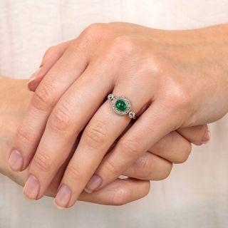 Art Deco Emerald Cabochon and Diamond Ring