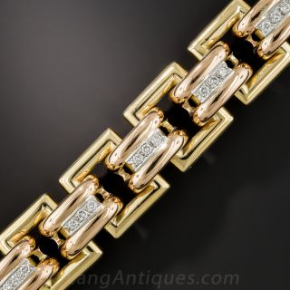 Large 18K Gold and Diamond Bracelet - 1