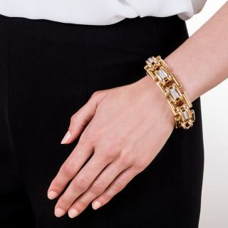 Large 18K Gold and Diamond Bracelet
