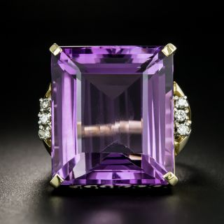 Estate Large 26.00 Carat Amethyst and Diamond Cocktail Ring - 2