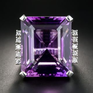 Large Amethyst and Diamond Platinum Cocktail Ring - 1