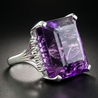 Large Amethyst and Diamond Platinum Cocktail Ring