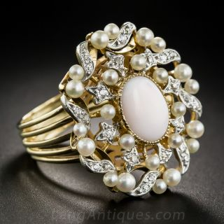 Large Angel Skin Coral and Pearl Cocktail Ring