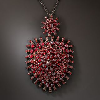 Large Antique Bohemian Garnet Pendant - 2