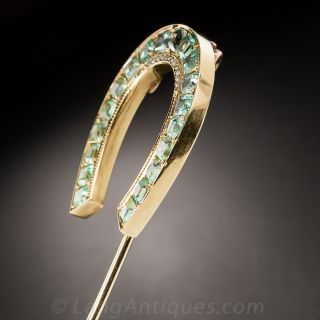 Large Antique Emerald Horseshoe Stick Pin