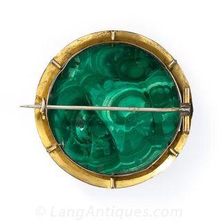 Large Antique Malachite Brooch