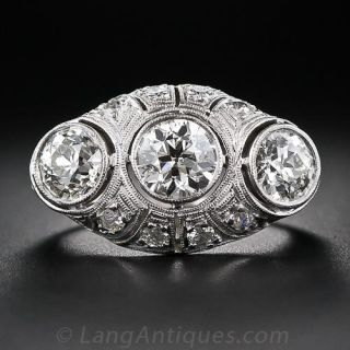 Large Art Deco Three-Stone Diamond Ring - 1